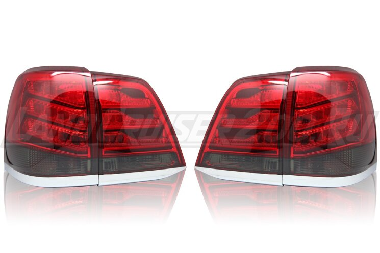 Стоп-сигналы Toyota Land Cruiser 200 (2007-2015) в стиле Lexus LX темный низ