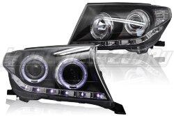 """Фары черные Land Cruiser 200 (2007-2012) """"ангельские глазки"""""""