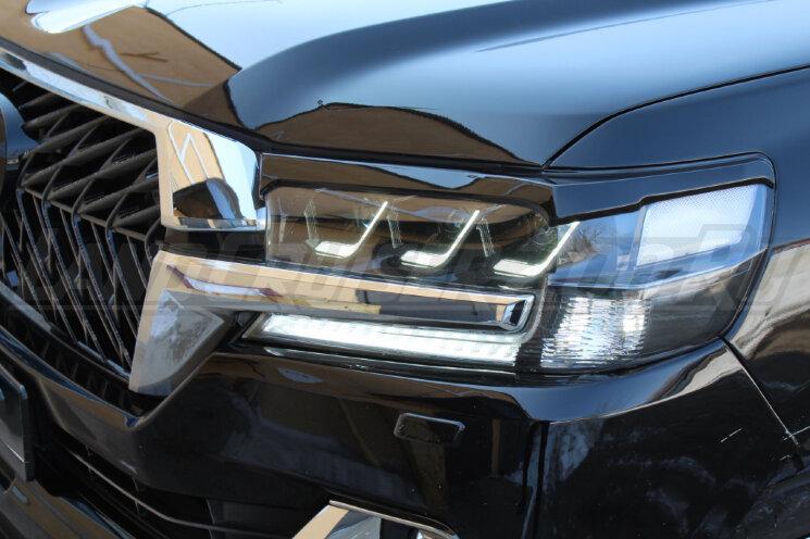 Фары в стиле Lexus на Toyota Land Cruiser 200 (2016-2021) Черные